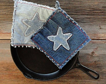 Denim Potholders - Country Star Blue Jean Hot Pads - The Best Pot Holders Ever