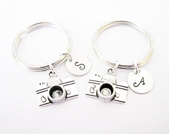 2 personalized best friend camera keychain, set of two, antique silver initial camera charm, photographer gift, photography, custom, silver