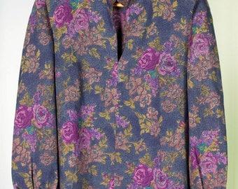 Floral print wool blouse