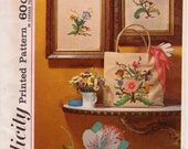 Vintage 1960s Crewel Embroidery Wall Hangings and Tote Bag Craft Pattern, Simplicity 4716, Jacobean Floral Embroidery, Free US Shipping