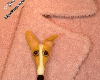 Needle Felted Greyhound Pin, Italian Greyhound Pin, Greyhound Gifts, Handmade Greyhound, Iggies, Whippet