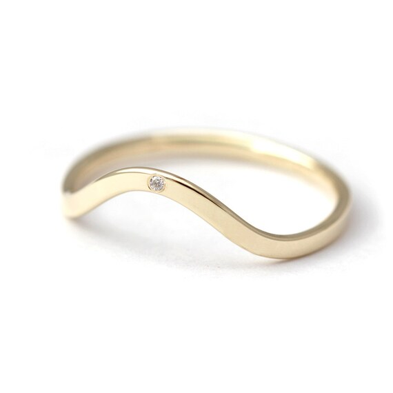 Curved Wedding Ring Diamond Band Tiny