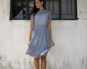 Japanese Vintage Dress/Extra Small/60s/Lace/Baby Blue/Nautical Look/Bow/Dickie/Cruise Ship Vacation