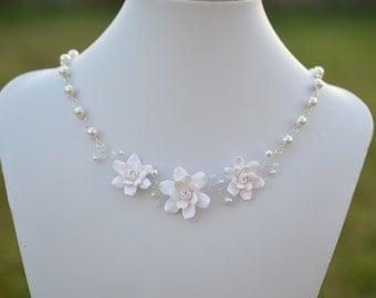 Trio White Gardenia and Swarovski Strand Necklace, Trio Gardenia Vine Bridal Necklace, White Flower Vine Necklace