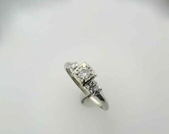 1940's Diamond Engagement Ring Set in 14 Karat White Gold