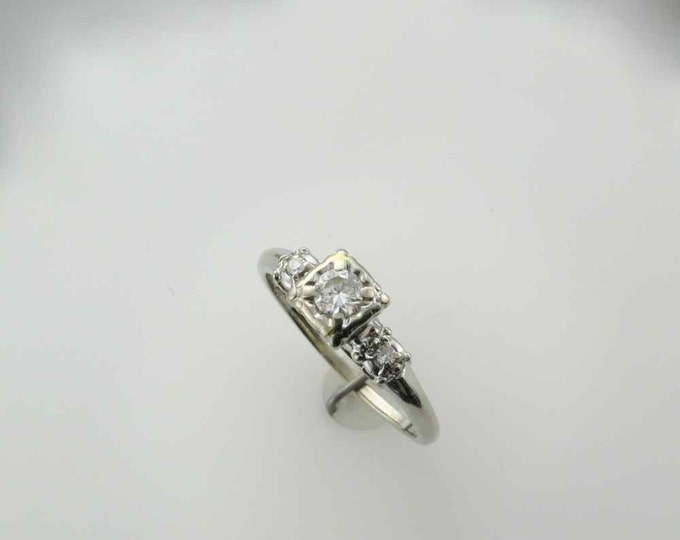 1940's Diamond Engagement Ring Set in 14 Karat White Gold