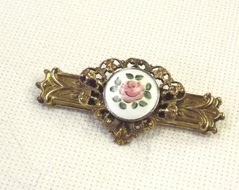 Etruscan Style Enamel Pin - Filigree Rose Painted Brooch - Vintage Estruscan Revival Jewelry'