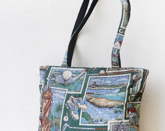 Golf tapestry shopping market tote shoulder bag