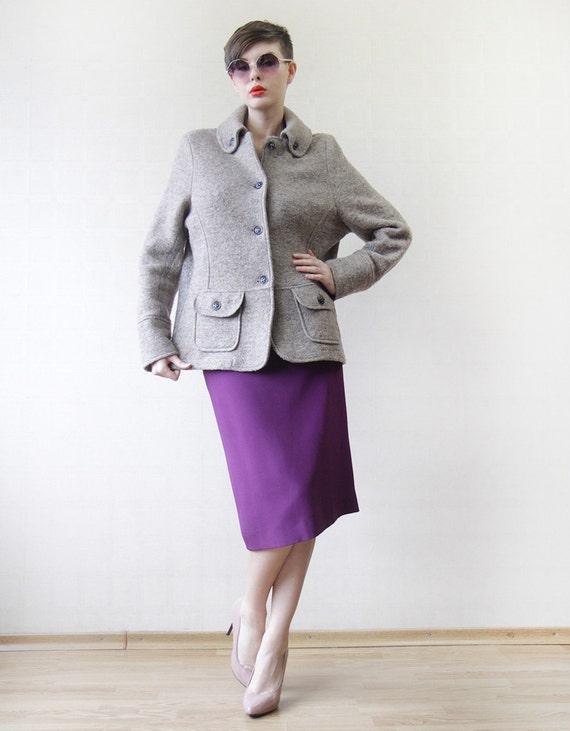 marie lund grey beige boiled wool preppy coat jacket large. Black Bedroom Furniture Sets. Home Design Ideas