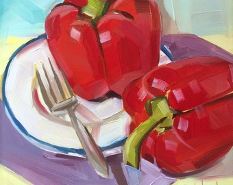 Red Peppers with fork and white plate, original oil painting, free domestic shipping
