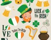 St Patricks Day Clip Art - Saint Patricks Day Clipart, Leprechaun, Irish vector clip art- INSTANT Download