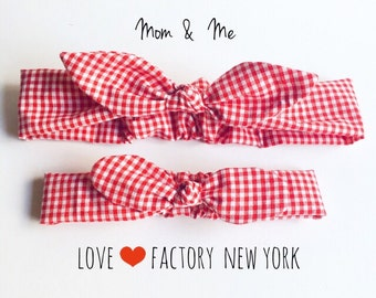 ladies head wraps bandana bow gingham check red or black-ladies headbands-hipster-retro-ladies head wraps-womens headbands-Love Factory NY