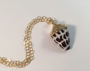 NEW! 18kt Gold dipped Hebrew Cone Shell Necklace