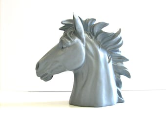 Faux Horse Head Bust Statue table top decor in gray