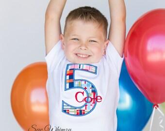 Birthday number shirt- Boy's birthday shirt- Monogram Birthday Shirt- Boy's Applique Shirt- Plaid Number Shirt- Personalized Birthday shirt