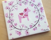 Pink Dala Horse Tile with Cherry Blossom Floral Wreath Printed Tile Trivet 6x6