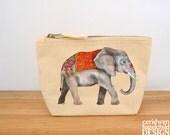 Elephant Canvas Zip Purse, Makeup Bag, Coin Purse, Small Accessory Pouch
