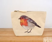 Robin Canvas Zip Purse, Makeup Bag, Coin Purse, Small Accessory Pouch