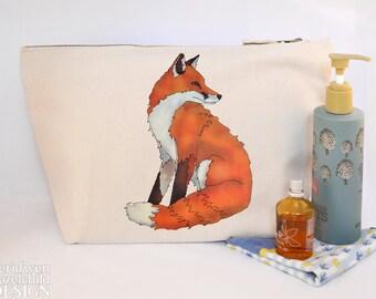 Fox Canvas Wash Bag, Large Zipper Pouch, Makeup Bag, Toiletry Bag, Accessory Bag