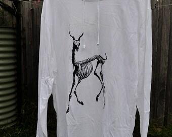 Deer Hoodie. Stag Hoodie. Skeleton Hoodie. Screen Printed. White. XL