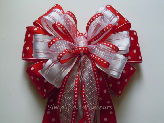 Polka Dots Birthday Decor Red White Polka Dots Wreath bow Polka dots Wedding Pew Bow Wedding Bow Door Hanger Bow Polka Dots Gift wrap Bow