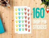 Planner stickers - 160 Stickers Set - Push Pin World Travel Map - World Map Stickers - Road Trip