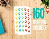 160 Stickers Set - Push Pin World Travel Map - Trip Planning Map of the World - World Map Stickers - Road Trip