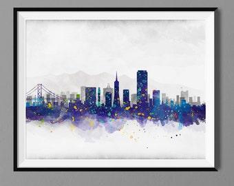 San Francisco Skyline - Watercolor Art Print Poster - Housewarming, Home Decor, Wall Hanging, San Francisco Art