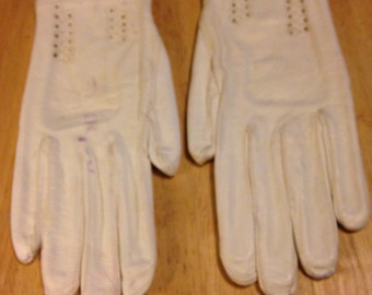 White Leather Gloves - Italy