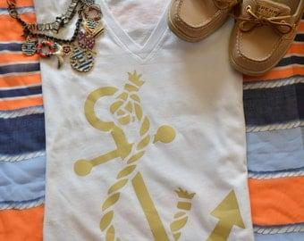 Nautical Anchor Shirt- Gold Metallic - tshirt - fashion