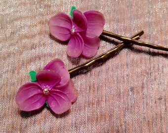 Purple Hairpins Bobby Pins Decorative Woodland Rustic, West Germany