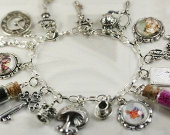 DIY Alice In Wonderland Charm Bracelet Do It Yourself Alice In Wonderland Party Favors Complete Kit Mad Hatter Chesire Cat White Rabbit