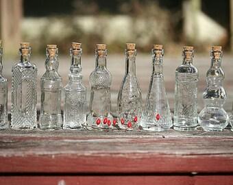 10 Glass Bottles Clear Glass Bottle Limoncello Bottles Olive Oil Favors Baptism Favors Holy Water Favors Communion Favors