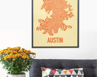 Austin Typographic Neighborhood Map