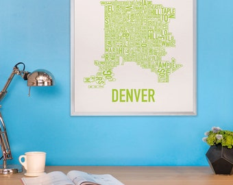 Denver Typographic Neighborhood Map