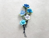 Blue Rose Hair Pins, Ombre Bobby Pins, Paper Flower Roses, Something Blue Bride, Natural Vibe Wedding, Hair Accessories, Blue Bridesmaids.