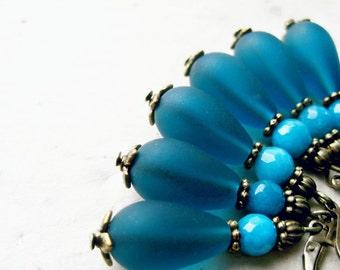 Sea Glass Teardrop Earrings in Peacock Blue with Turquoise Jade Gemstones. Deep Teal Aqua Bridesmaid Jewelry for Rustic Oceanside Weddings.