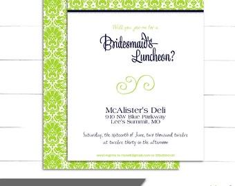Bridesmaid Luncheon Invitations - Elegant, Chic, Damask Invitations - Adalynne Collection (Digital or Print)