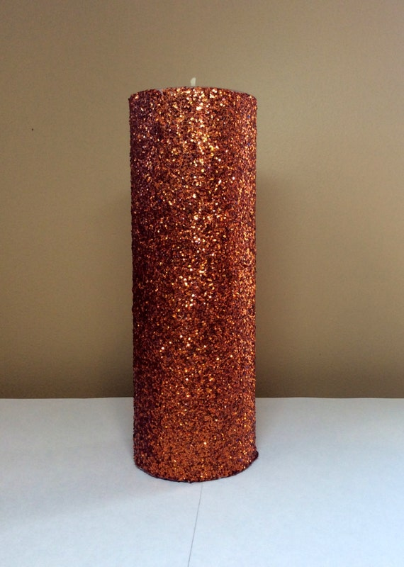 Orange copper glitter pillar candle by stillwatercandles for Shimmer pillar candle
