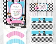 1950's Sock Hop Themed Birthday Party Printables Set - Grease Theme - Dance Party Printable Labels -