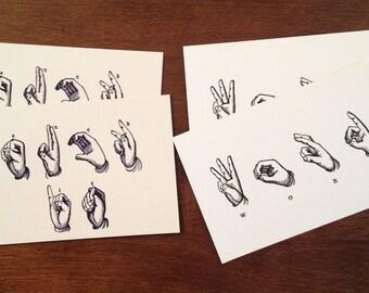 Funny postcard set: Suck it and Word postcards, pack of 4 deaf ASL postcard