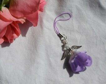 Lilac Guardian Angel Charm, Zip Pull, Bag Charm