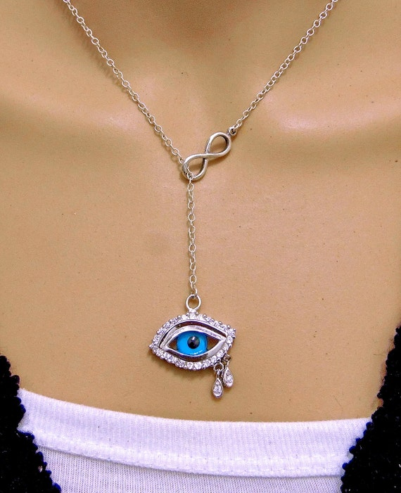 sterling silver third eye pendant charm chain necklace by