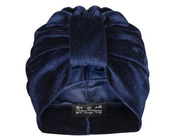 Navy Velvet Turban