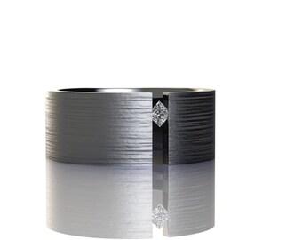 Tension Set Titanium Band with Single White Princess Cut Diamond