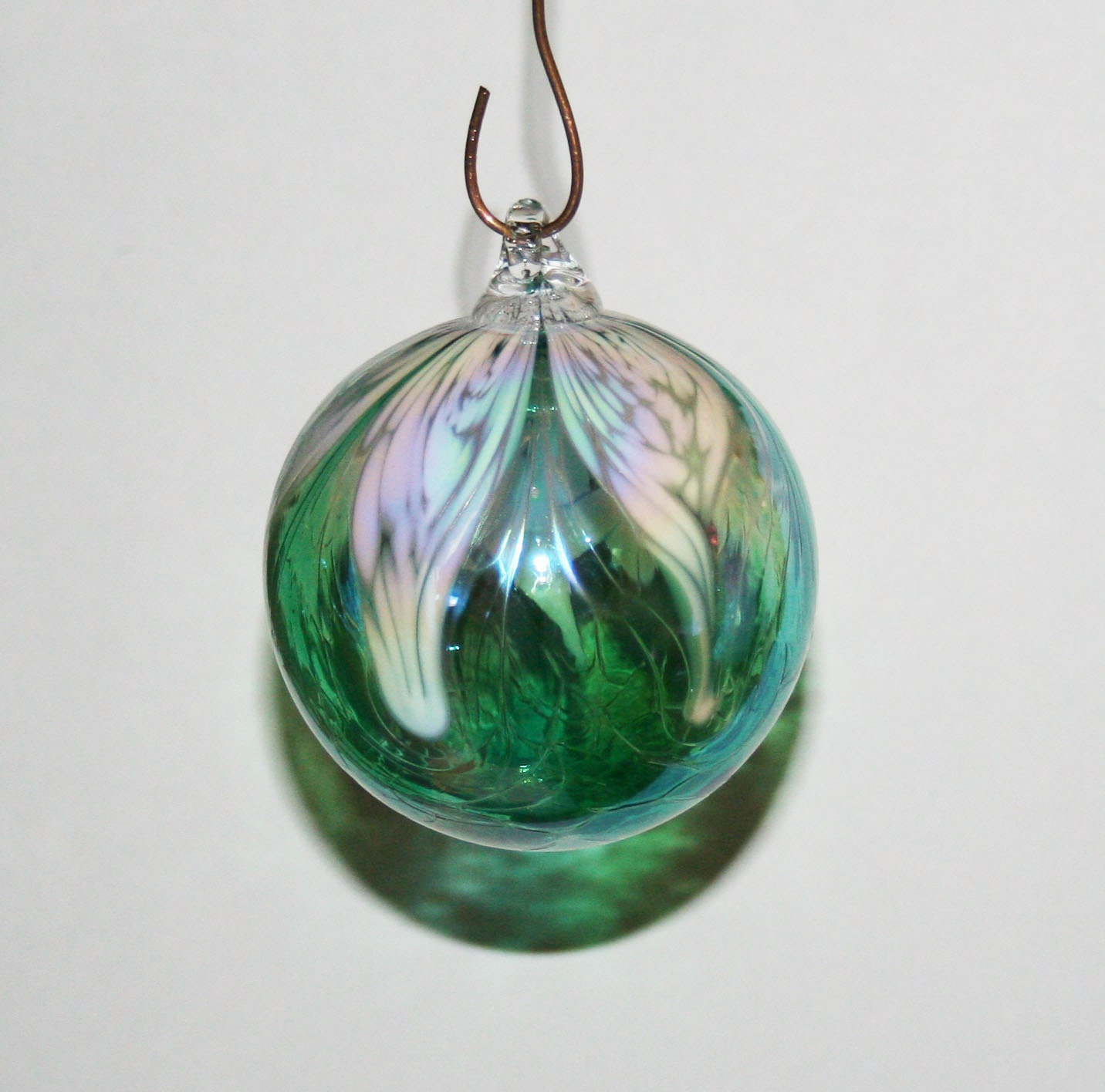 Hand blown glass christmas ornament white by