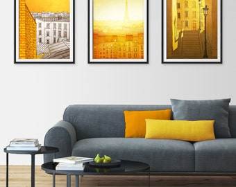 Any THREE Prints - Save 25%,Set of three Illustrations,Giclee Art print Home decor City print Paris decor Travel poster Cityscape City print