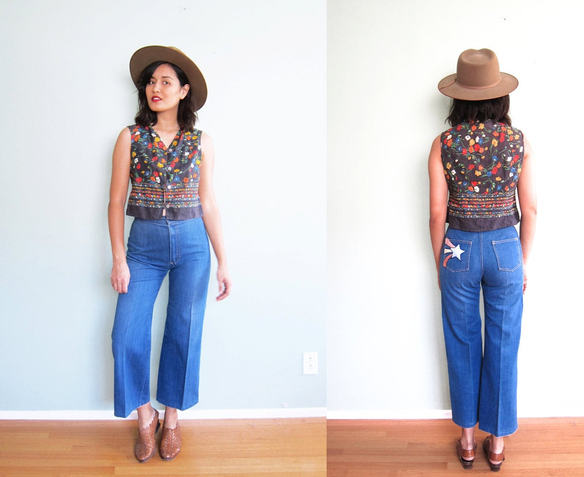RESERVED Vintage 70s High Waisted Flare Jeans Denim