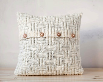 Chunky hand knitted cushion lines pattern pillow cover with wool   0190