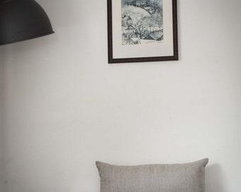 Lumbar pillow cover-gray natural linen pillowcase - lumbar pillows throw- cushion covers - linen cushion - small lumbar   0060
